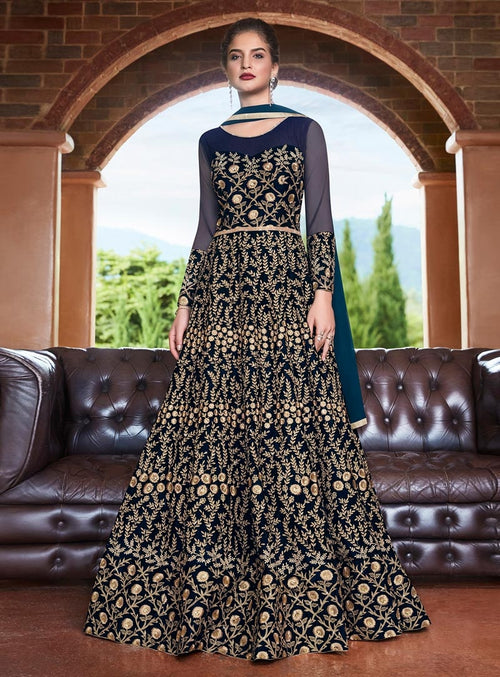 Navy Blue Embroidered Flared Anarkali Suit