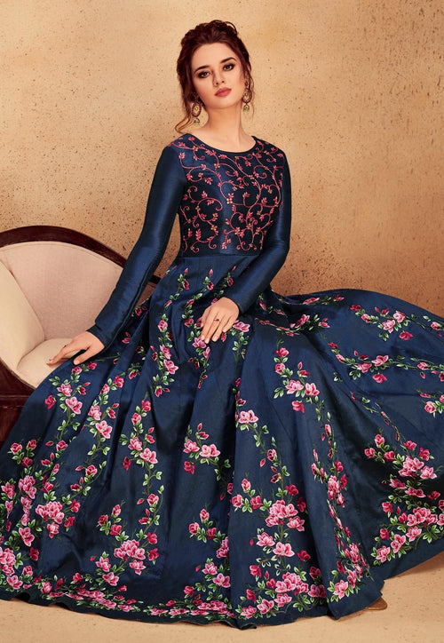 Navy Blue Floral Embroidered Silk Anarkali Suit