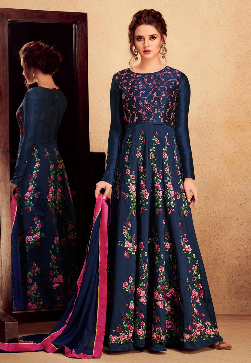 a10800ea2c Navy Blue Floral Embroidered Silk Anarkali Suit - Hatkay – Hatkay.com