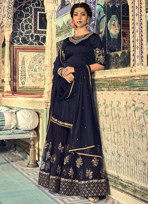 Navy Blue Embellished Gharara Palazzo Suit