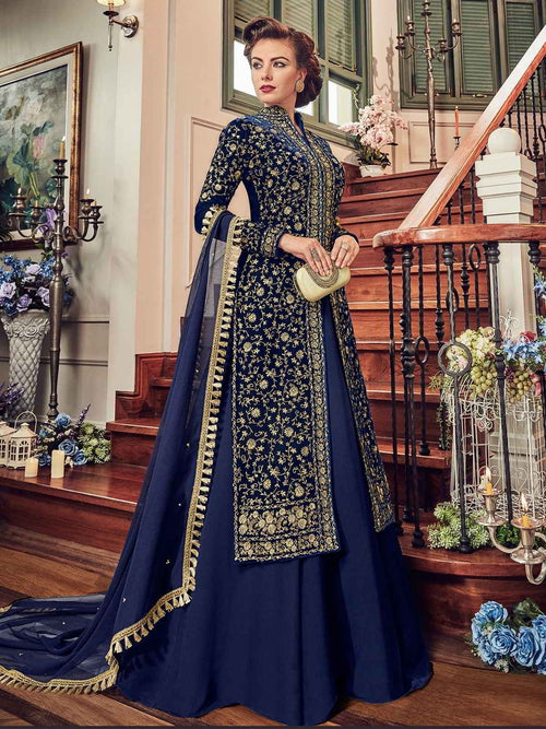 Navy Blue All Embroidered Jacket Style Anarkali Suit