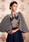 Navy Blue Kaftan Style Embroidered Anarkali Suit