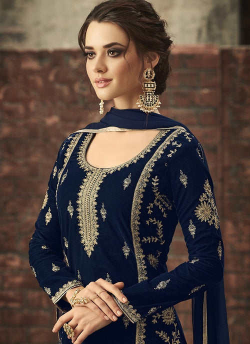 Navy Blue With Gold Ethnic Embroidered Pant Suit