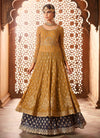 Ochre Yellow And Grey Embroidered Flared Anarkali Lehenga Suit