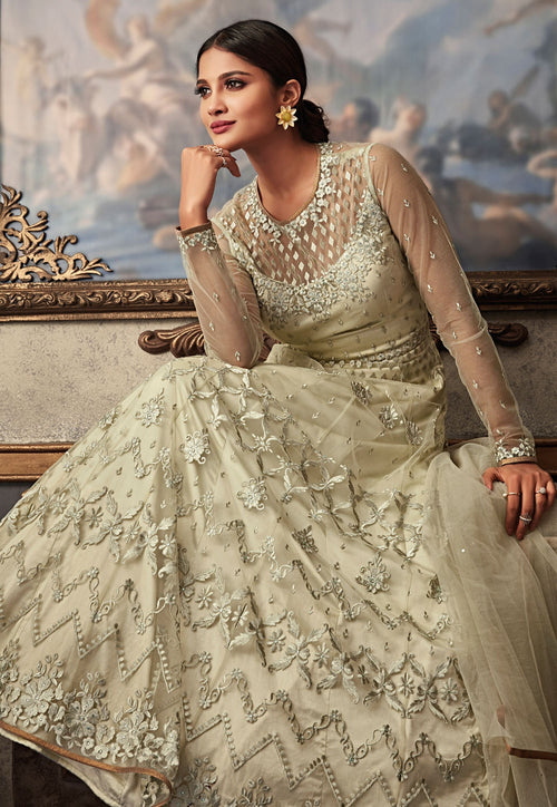 Off White Embroidered Flared Anarkali Gown Set