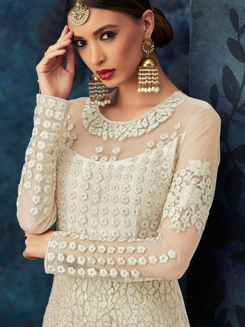 Off White Overall Embroidered Net Anarkali Suit
