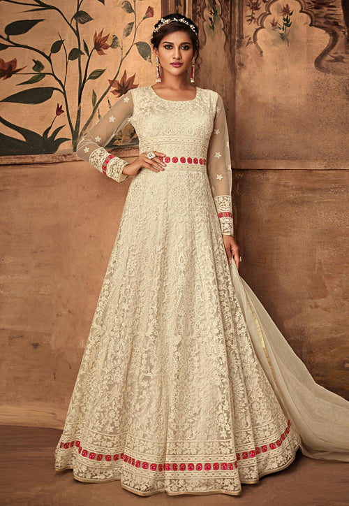 Off White Ethnic Embroidered Net Anarkali Suit