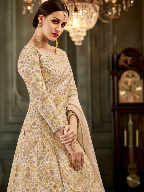 Off White Floral Embroidered Flared Anarkali Suit