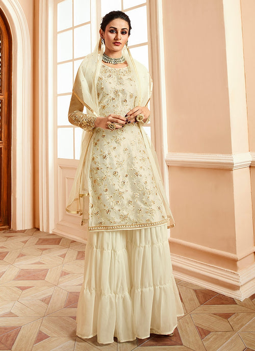 Off White With Golden Touch Embroidered Gharara Suit