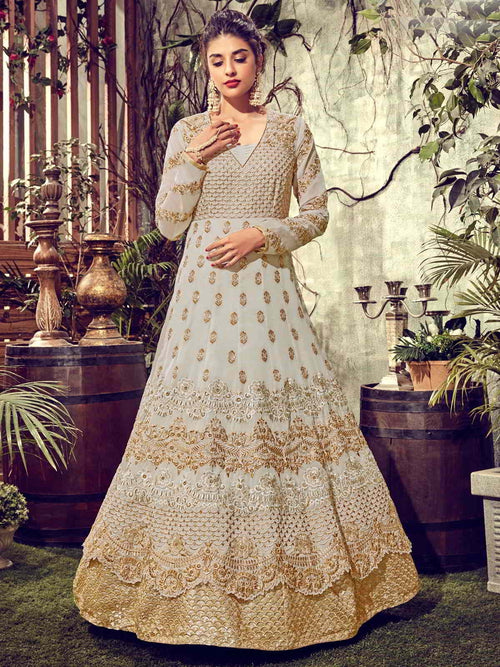 Off White And Golden Detail Layered Anarkali Suit