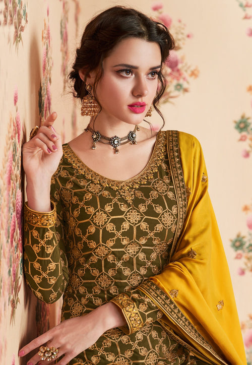Olive And Yellow Embroidered Gharara Palazzo Suit