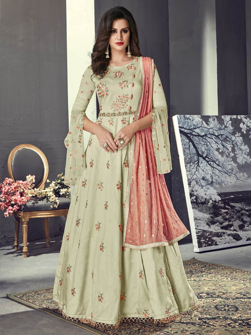 Olive Green And Peach Embroidered Silk Anarkali Suit