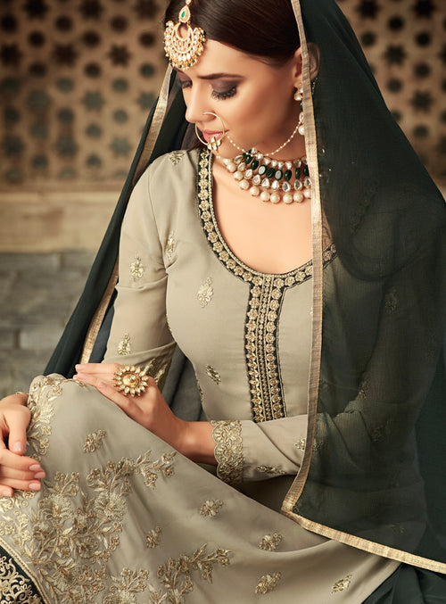 Olive Green Dual Tone Traditional Embroidered Palazzo Suit