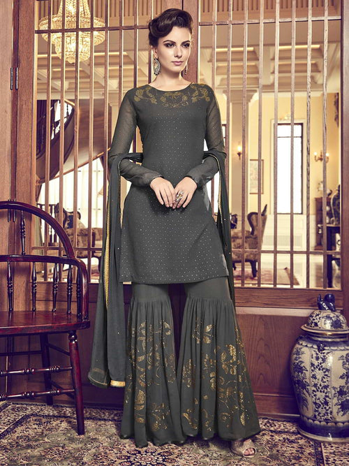 Olive Green Embellished Classic Palazzo Suit