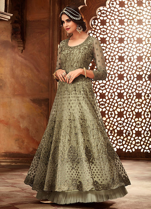 Olive Green Layered Embroidered Net Anarkali Suit