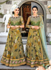 Olive Green Floral Embroidered Lehenga Choli Suit