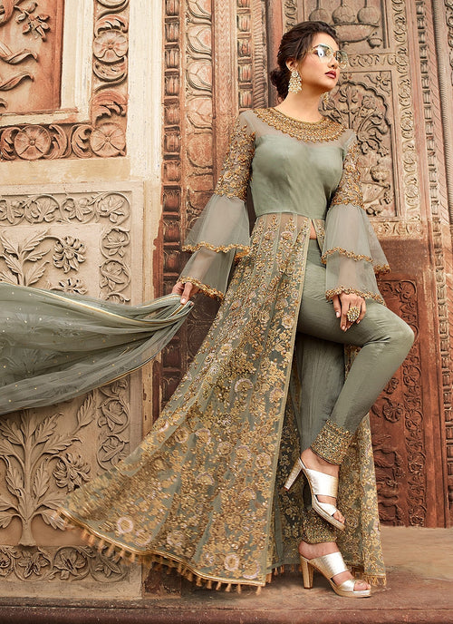 Olive Green Overall Embellished Lehenga/Pant Suit