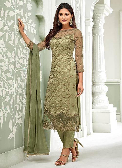 Olive Green Pakistani Embroidered Pant Suit