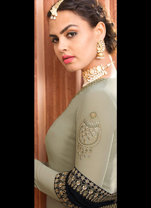 Olive Green Two Tone Embroidered Palazzo Suit