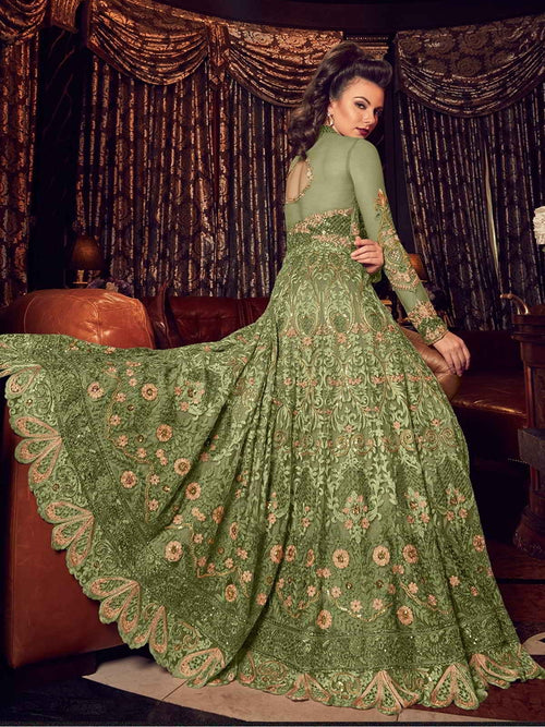 Olive Green With Golden Embroidered Lehenga/Pant Suit