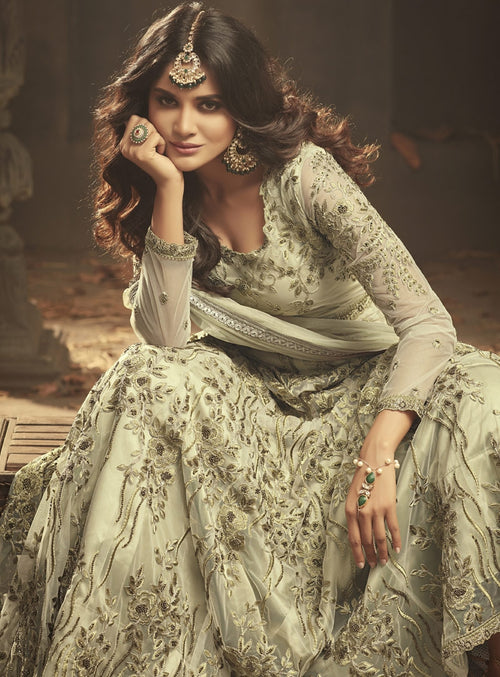 Pastel Green Gown Style Anarkali Suit
