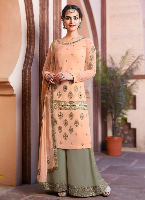 Pastel Orange And Green Embroidered Palazzo Suit