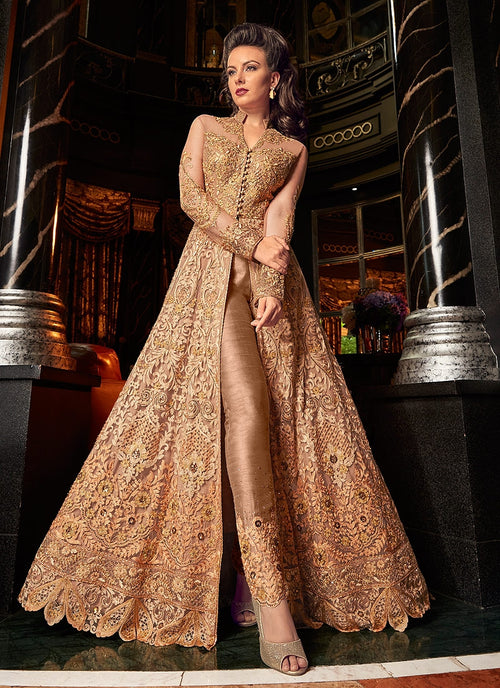 Pastel Orange With Golden Embroidered Lehenga/Pant Suit