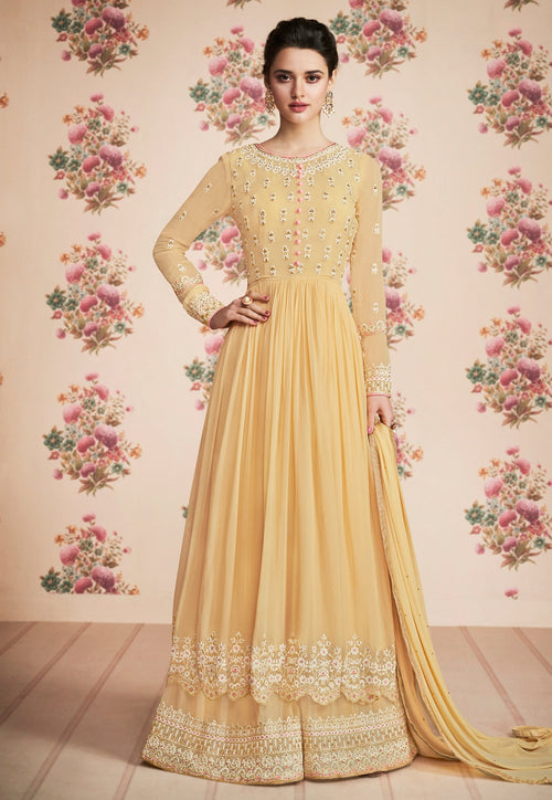 Pastel Yellow Embroidered Palazzo Suit