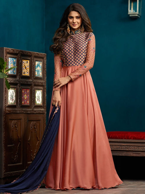 Peach All Over Minimalist Embroidered Anarkali