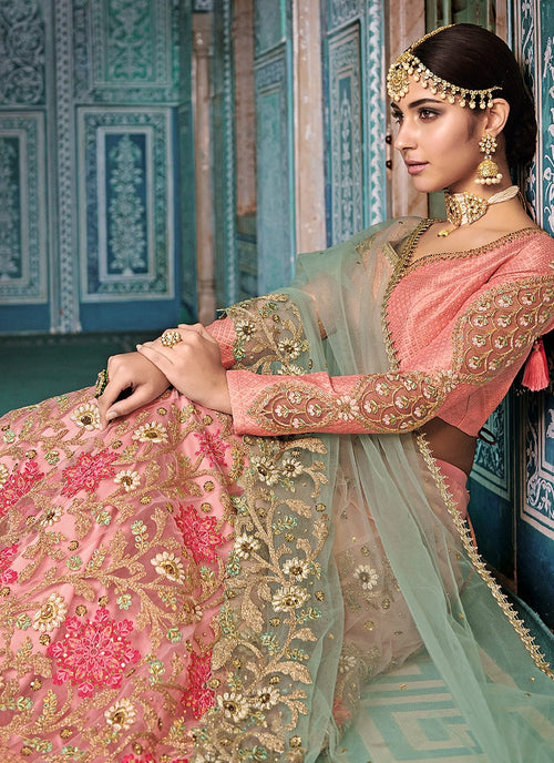 Peach And Blue Embroidered Kaliyaari Lehenga Choli Set