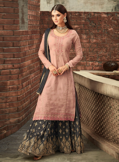 Peach And Grey Traditional Embroidered Palazzo Suit