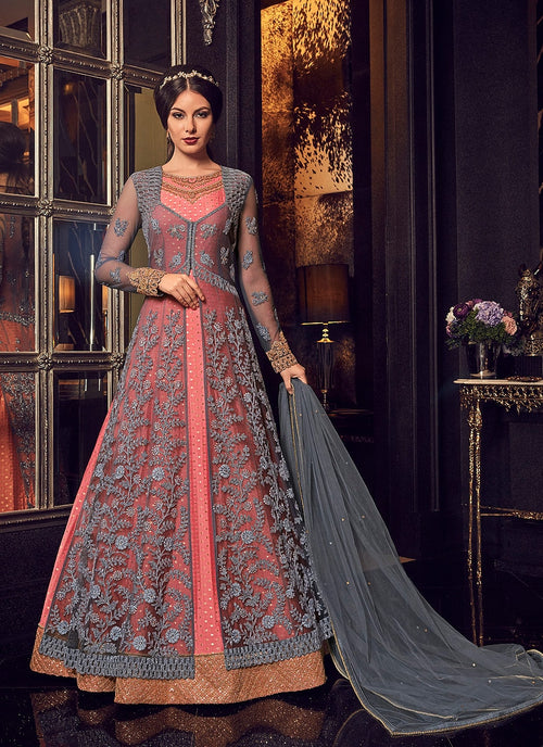 Peach And Grey Minimalist Embroidered Jacket Style Anarkali Suit