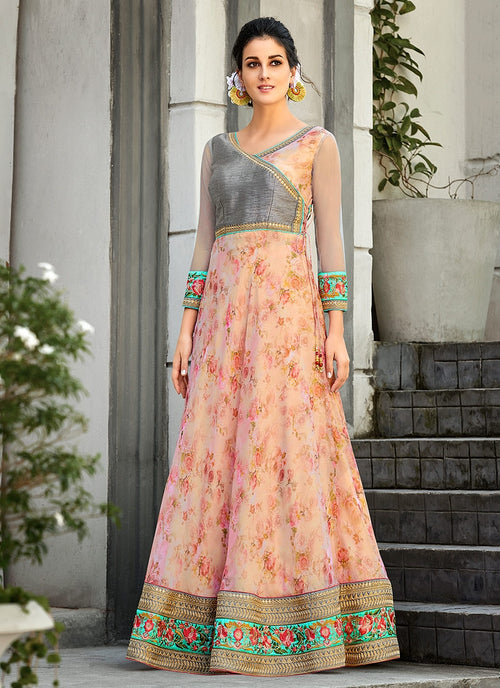 Peach And Grey Embroidered Lehenga Choli Suit