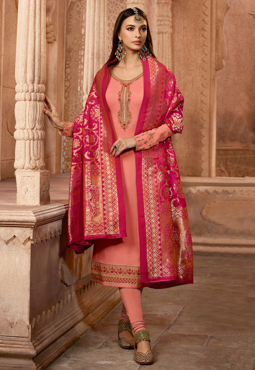 Peach And Pink Embroidered Satin Churidar Suit