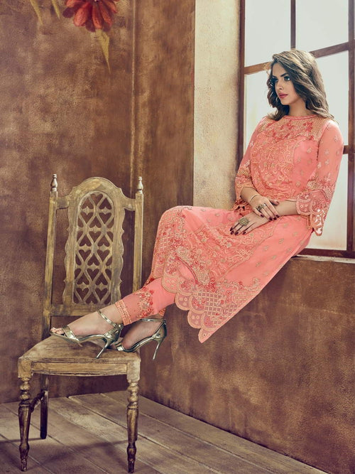 Peach And Red Minimalist Embroidered Pant Suit