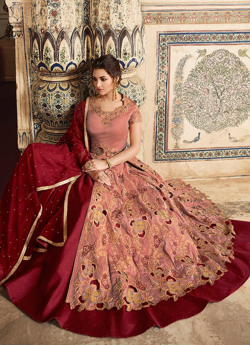 Peach And Red Embellished Lehenga/Pant Suit