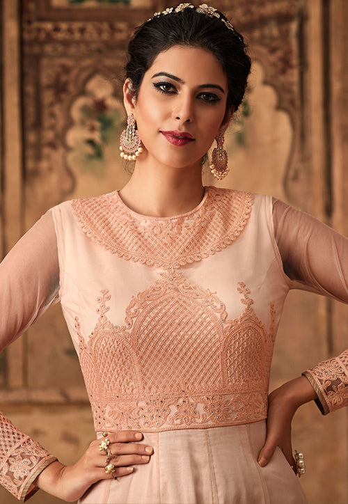 Peach Chikankari Embroidered Net Anarkali Suit