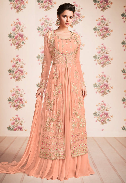 Peach Embroidered Jacket Anarkali Suit