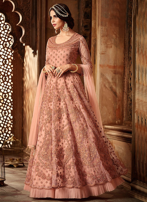 Peach Ethnic Embroidered Net Anarkali Suit
