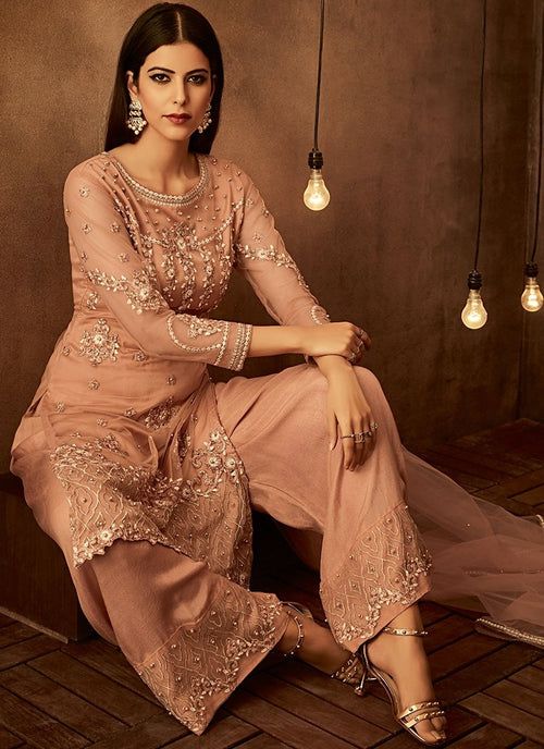 Peach Traditional Embroidered Palazzo Pant Suit