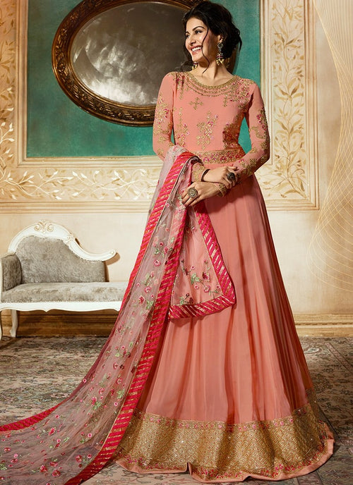 Peach Delicately Embroidered Kalidar Anarkali Suit