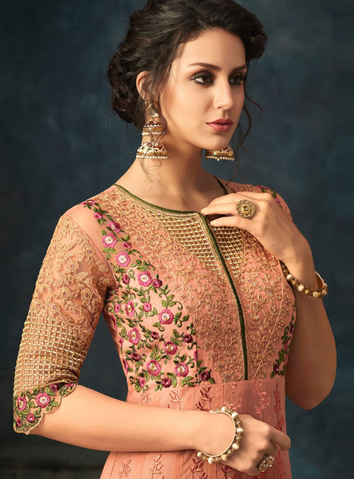 Peach Overall Floral Embroidered Flared Anarkali Suit
