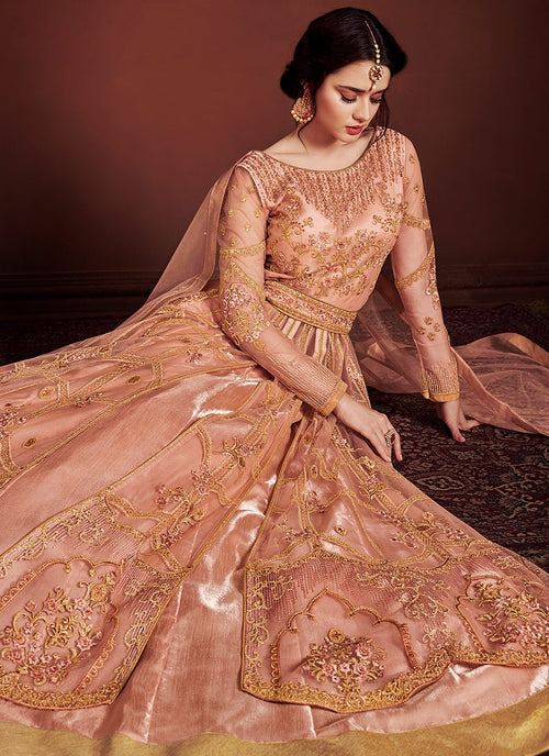 Peach Golden Fully Embroidered Anarkali Lehenga Suit