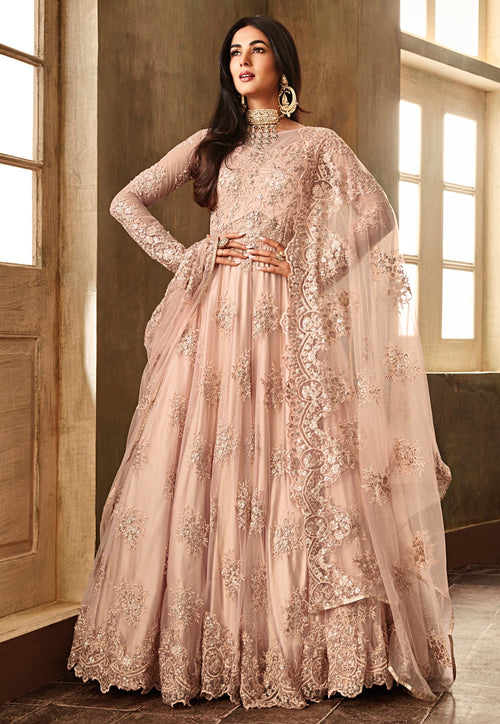 Peach Heavily Embroidered Net Anarkali Suit