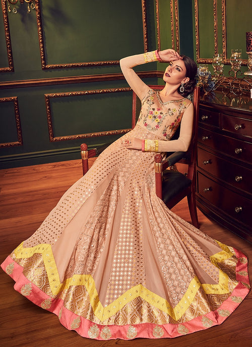 Peach Multi Embroidered Flared Designer Anarkali Suit