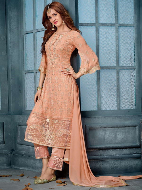 Peach  Overall Designer Embroidered Pant Suit