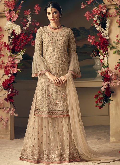Peach Overall With Multi Embroidery Flared Sharara Suit
