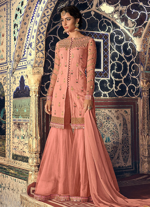 Peach Overall Embellished Gharara Suit