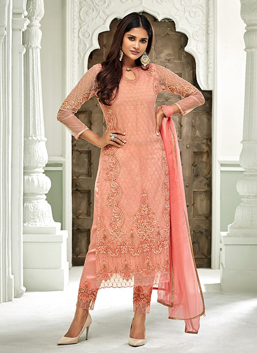 Peach Pakistani Embroidered Pant Suit
