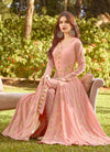 Peach Vibes Golden Embroidered Slit Style Anarkali Suit